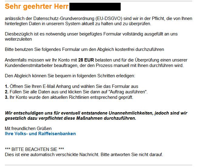 Phishing Mail Im Namen Der Volks Und Raiffeisenbanken Vr Bank Mittelfranken West Eg